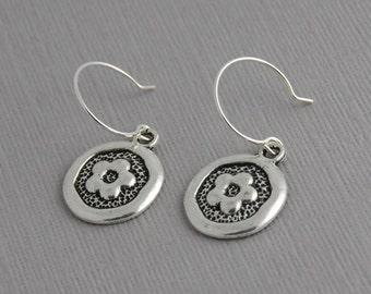 Flower Earrings, sliver flower earrings, dangle earrings