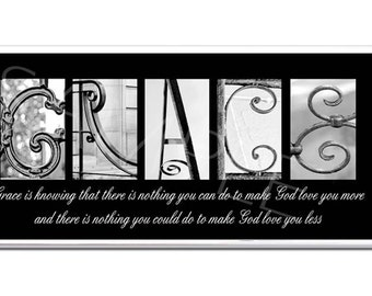 GRACE, HOPE, or LOVE   Inspirational Plaque black & white letter art