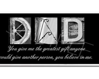 DAD  DADDY  FATHER   Inspirational Plaque black & white letter art