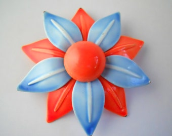 1960's 2-TONE ENAMEL BROOCH- electric orange and baby blue!