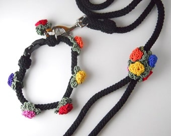 DOG SET LEASH, collar, and hair clip, hand crochet acrylic, black and floral design