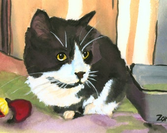 Tuxedo Cat Print Original print from painting by Mary Jo Zorad