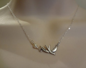 Tiny dove necklace,silver dove, pearl necklace,sterling silver necklace, dove pendant FN004