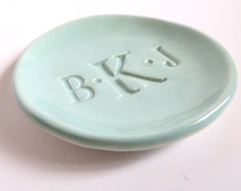 ring holder, CUSTOM monogram dish, Soft blue green, Pastel Teal,  gift for them, handmade pottery,  Gift Boxed, Made to Order