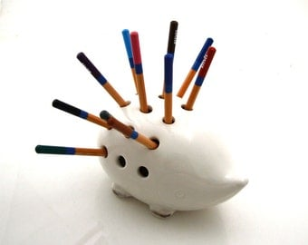 Hedgehog porcupine pencil holder, great gift for co worker or office mate, woodland animal lover