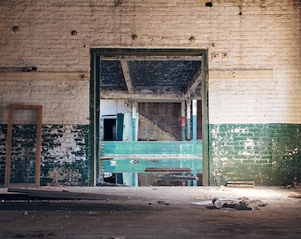 Architecture, Geometric Abstract, Urban Decay Photography, Photograph Print, Teal Green Cream White, Abandoned Scranton Lace Factory, Urbex