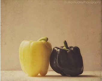 Peppers Photograph, food photography, 8x10, farm market finds, purple and gold, mustard yellow, rustic home decor, cottage farmhouse autumn