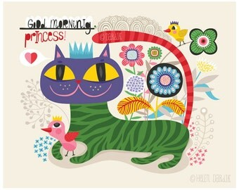 Good Morning Princess! - limited edition giclee print of an original illustration (8 x 10 in)
