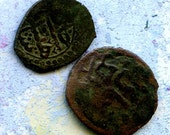 2 UNCLEANED coins from a dig,antique objects, something  curious, antique metal coin, coolvintage, collectibles, patina, old, age, 6K