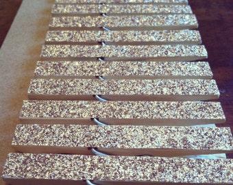 50 Gold Glitter Clothespins
