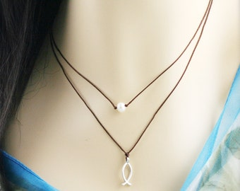 Fish and pearl double strands necklace - fresh water pearl