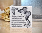 Monarch Butterfly Absorbent Stone Tile Drink  Coaster