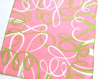 Marielle Linen Handkerchief Lime Green Ribbons on Pink