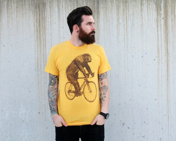 tree SLOTH on a Bicycle - American Apparel Mens T Shirt - xs s m l xl xxl - Heather Gold