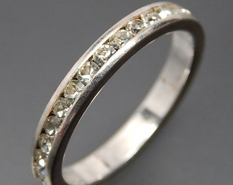 Wedding Band Size 8  Journey Band Ring Sparkle Channel Set High Quality Cz can be use as Stackable Ring Sterling Nikel Free On SaLe Now