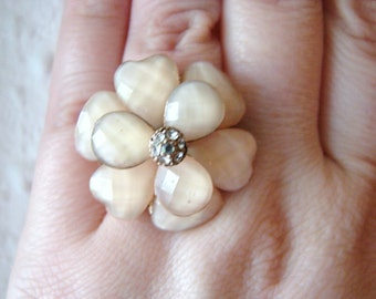 Vintage gold and peach flower ring with clear crystal accents- fully adjustable