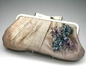 Metallic Gold Evening Wedding Clutch Bag Handbag, Elegant Embellished Unique Handmade Swarovski Crystal Wire Brooches