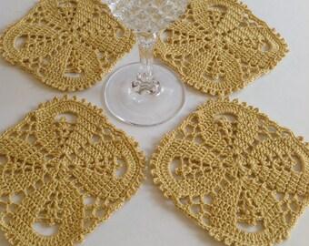 Yellow Tan Coaster/Set of Four Coasters