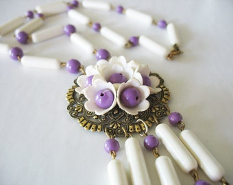 Tassel Medallion Necklace Purple and White Filigree GT 1960s