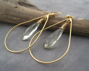 Hoop Earrings - Green Amethyst Earrings - Gold Hoops - Amethyst Jewelry - February Birthstone - Light Green and Gold - Faceted Stone
