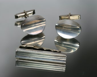 Vintage Modernist Sterling Taxco Cufflinks and Tie Clip