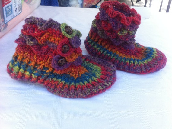 Ready to be shipped TODAY /GORGEOUS Hand Crochet Crocodile Stitch Adult Size Booties 7-8