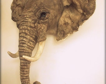 Elephant fabric trophy head- faux taxidermy