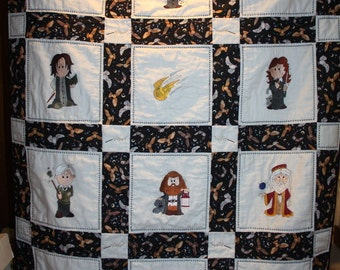 Wizzard Wand Harry Potter Machine Embroidered Lap Quilt