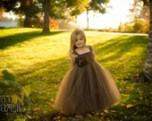 Chocolate Brown Tutu Dress with Flower Sash