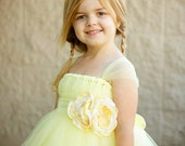 Sweet Yellow Flower Girl Tutu Dress with Flower Sash