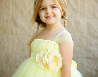 Sweet Yellow Flower Girl Tutu Dress with Flower Sash