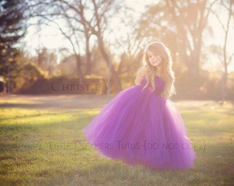 Plum Flower Girl Tutu Dress