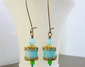 SALE Moroccan Delight Earrings, Aqua Czech Glass, Pale baby Blue, Brass, Green