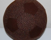 Fabric Soccer Ball- Red Brown Tweed Wool with Chocolate Brown