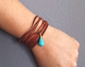 Leather Wrap Bracelet and Necklace in One With Turquoise Stone