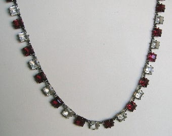 Antique 1920's Art Deco Sterling Crystal Necklace, Sterling Crystal Necklace, Art Deco Necklace