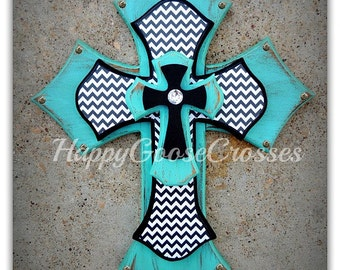 Wall Cross - Wood Cross - Medium - Antiqued Turquoise with Black & White Chevron