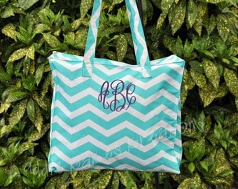 Personalized Turquoise Chevron Tote