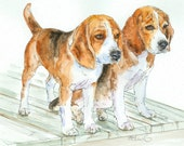 BEAGLE PAIR Original Watercolor on Ink Print 11X14 Matted Ready to Frame