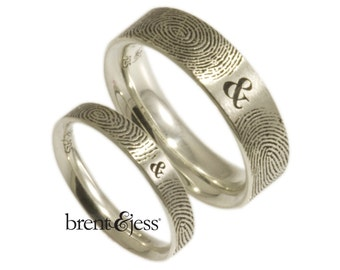 You & Me Forever Fingerprint Wedding Band Set in Sterling Silver Personalized fingerprint rings with your actual fingerprints