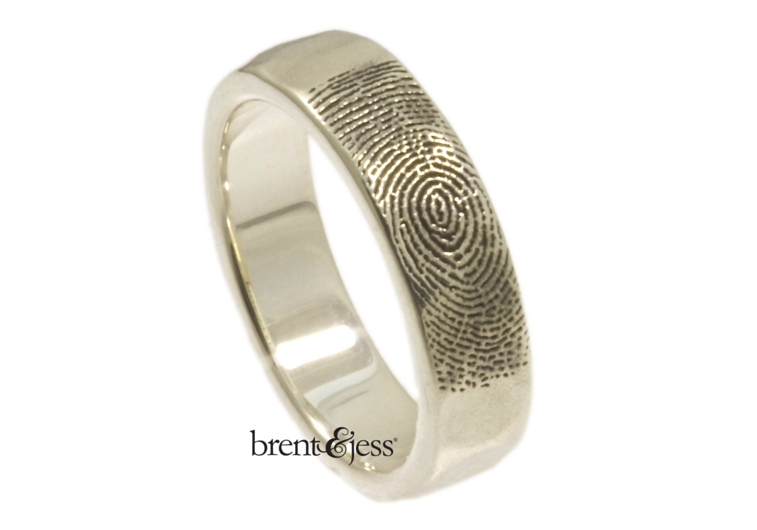 Organic Fingerprint Wedding Band With Refined Edge In Sterling