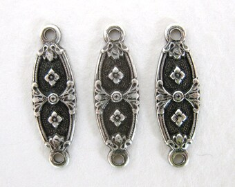 Nouveau Flower Connector Antiqued Silver Ox Finding Plated Drop Vintage Style 18mm cnn0069 (8)