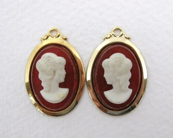 Vintage Cameo Carnelian Ivory Lady Plastic Cabochon Gold Pendant Setting 18x13mm chm0232 (2)