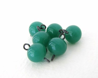 Vintage Japanese Beads Glass Jade Green Connector Links Charms Drops Wire vgb0767 (6)