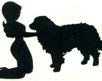 Bernese Mountain Dog and Pin Up Silhouette, Black Vinyl Decal