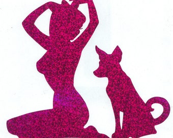 Formosan Mountain Dog and Pin Up Silhouette, Purple Glitter Vinyl Decal