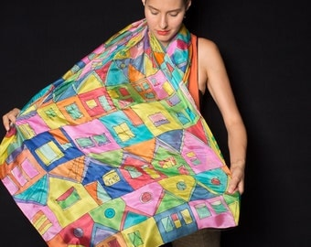 Hand painted Silk Shawl-Crazy Town. Hundertwasser scarf. Luxury Silk Scarf Wrap. Birthday gift for her ooak. Bright summer scarf