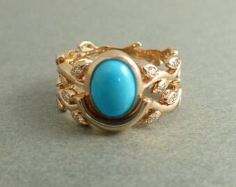Turquoise leaf engagement ring set.  14k pink gold turquoise ring. Engagement ring with leaves. Leaf engagement ring set. Turquoise ring set
