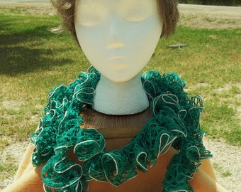 Frosted Teal Green Ruffled Scarf