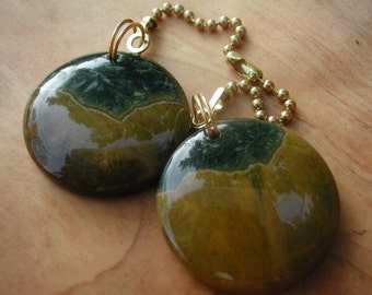 Fan Dangle / Tumbled Jasper on Brass Light Pulls Switch Pull Metallic Bronze Deep Green